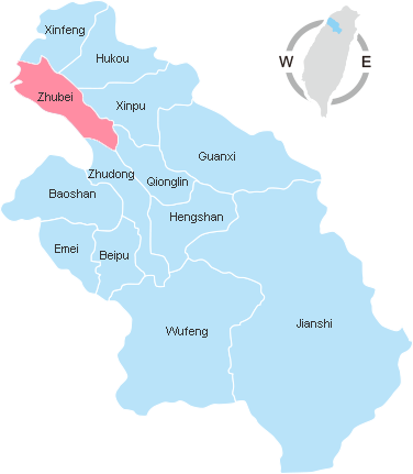Map of Hsinchu County